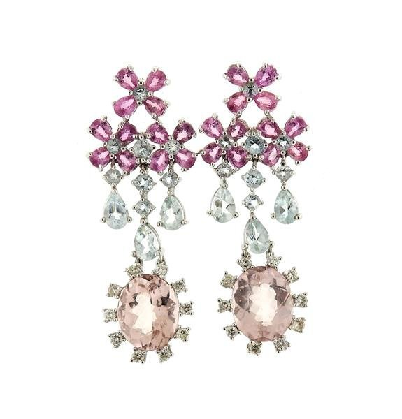 18k Gold Aquamarine Morganite Sapphire Earrings
