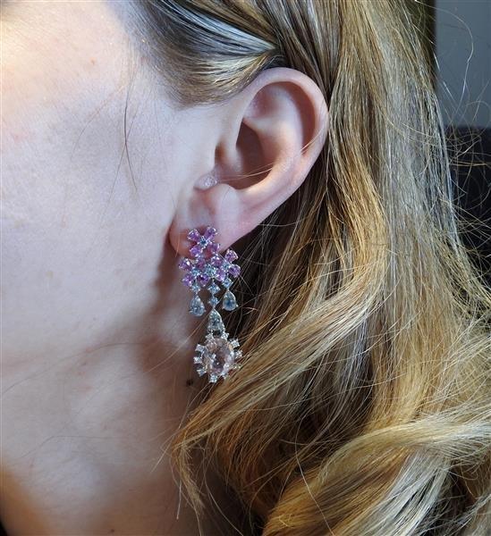 18k Gold Aquamarine Morganite Sapphire Earrings - 4