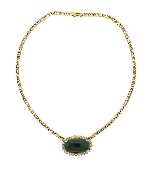 14k Gold Malachite Diamond Pendant Necklace