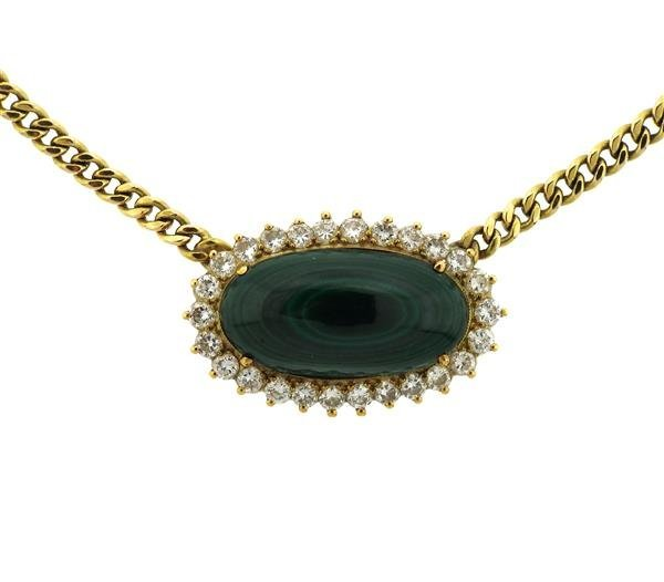14k Gold Malachite Diamond Pendant Necklace - 2
