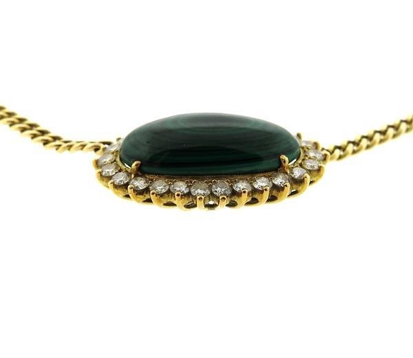14k Gold Malachite Diamond Pendant Necklace - 3