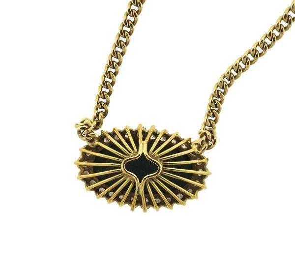 14k Gold Malachite Diamond Pendant Necklace - 4