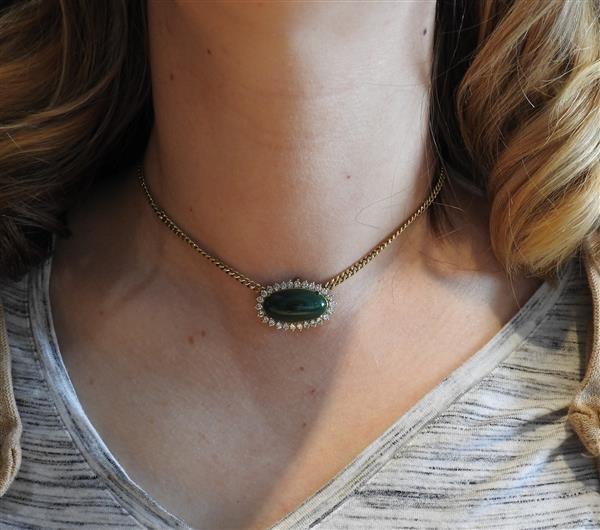 14k Gold Malachite Diamond Pendant Necklace - 6