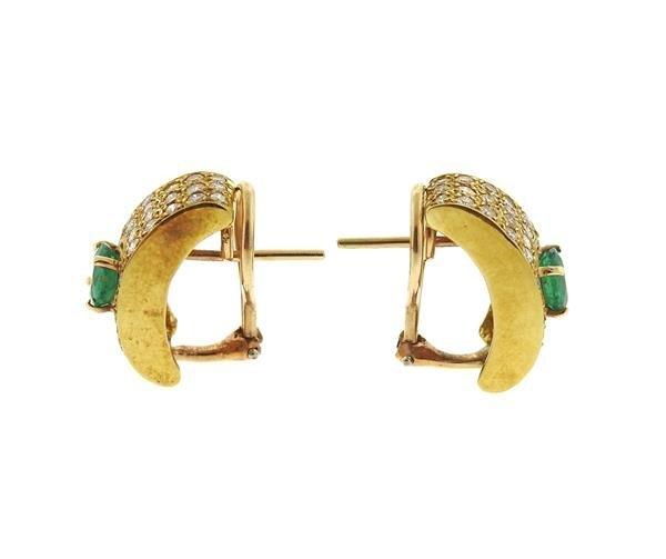 18k Gold Diamond Emerald Half Hoop Earrings - 2