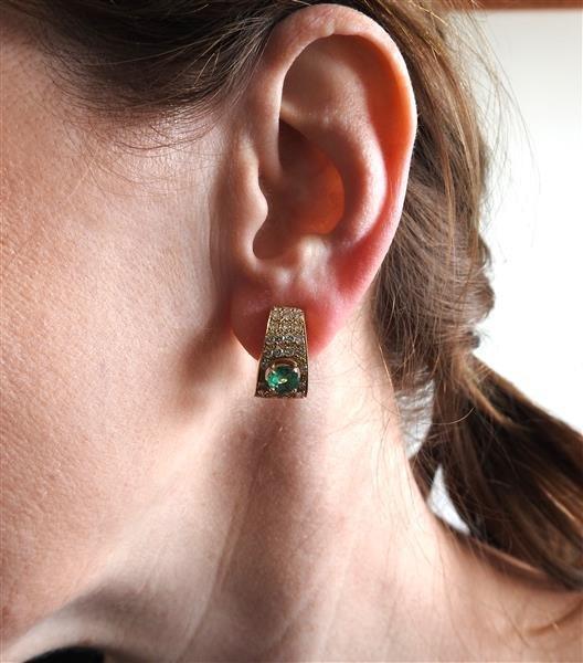 18k Gold Diamond Emerald Half Hoop Earrings - 4
