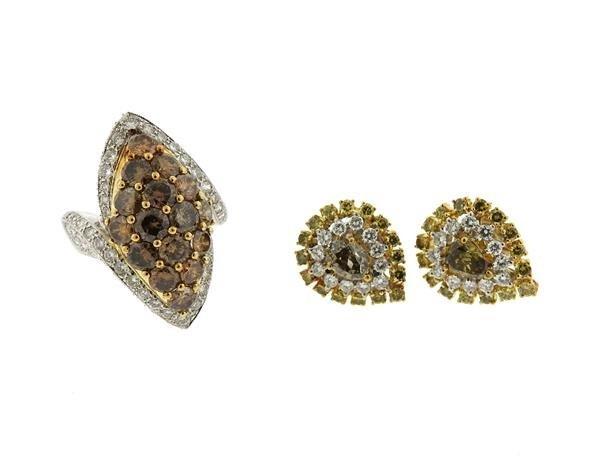 18k Gold Fancy White Diamond Ring Earrings Lot