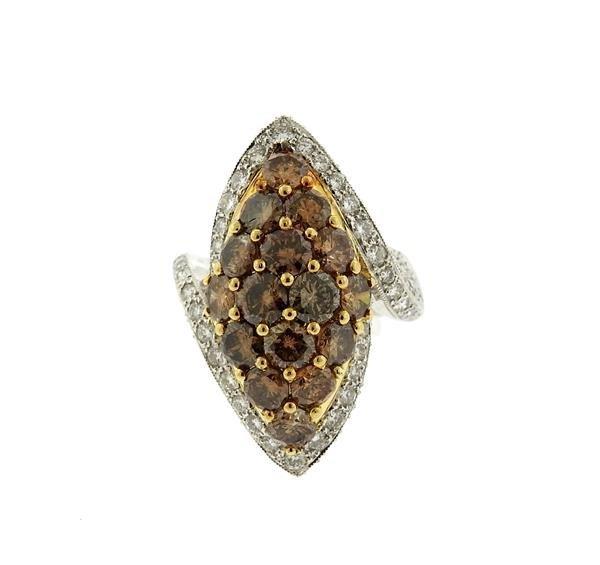 18k Gold Fancy White Diamond Ring Earrings Lot - 2