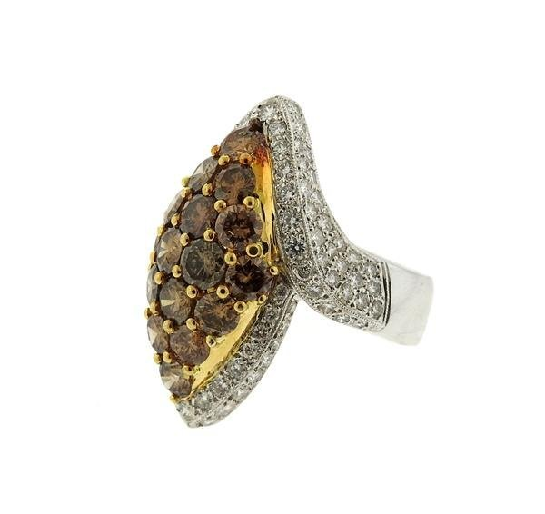 18k Gold Fancy White Diamond Ring Earrings Lot - 3