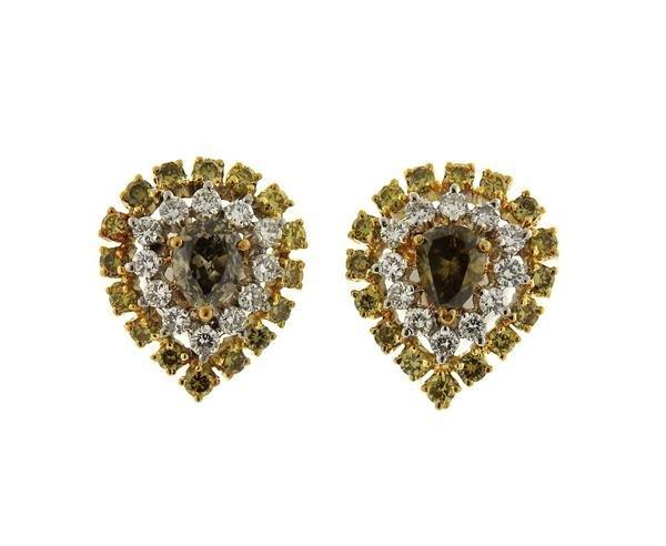 18k Gold Fancy White Diamond Ring Earrings Lot - 5