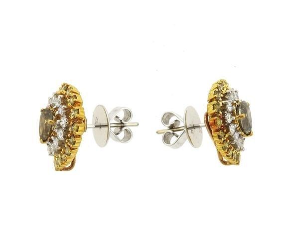 18k Gold Fancy White Diamond Ring Earrings Lot - 6