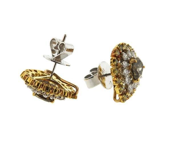 18k Gold Fancy White Diamond Ring Earrings Lot - 7