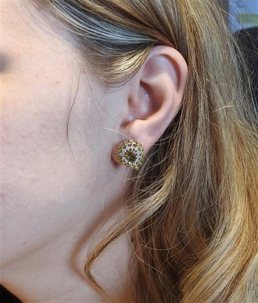 18k Gold Fancy White Diamond Ring Earrings Lot - 9