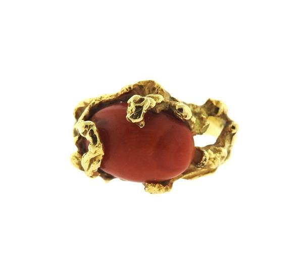 1970s 18K Gold Coral Free Form Ring