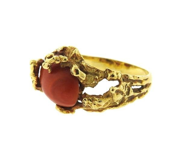 1970s 18K Gold Coral Free Form Ring - 2