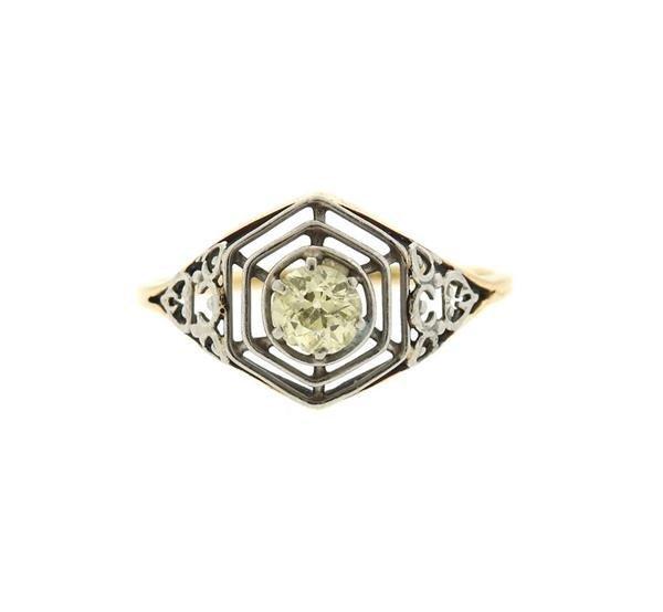 Art Deco  14K Gold Platinum Diamond Engagement Ring