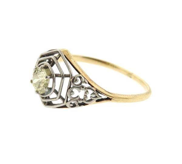 Art Deco  14K Gold Platinum Diamond Engagement Ring - 2