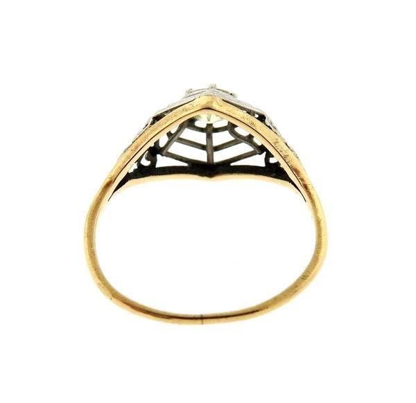 Art Deco  14K Gold Platinum Diamond Engagement Ring - 3