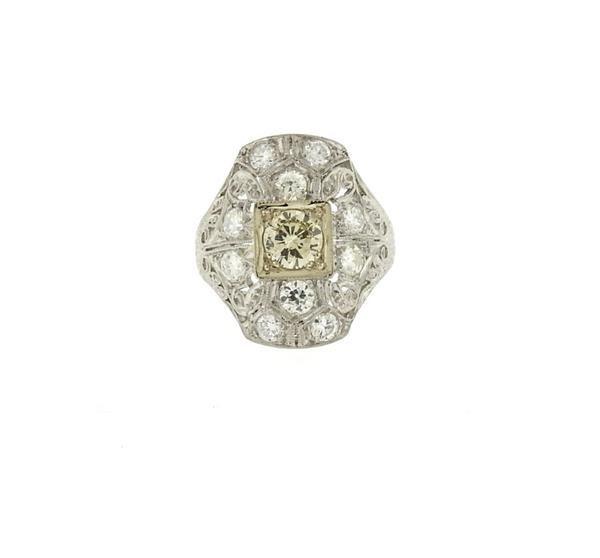 Art Deco Filigree Platinum Diamond Ring