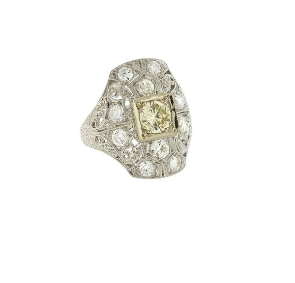 Art Deco Filigree Platinum Diamond Ring - 3