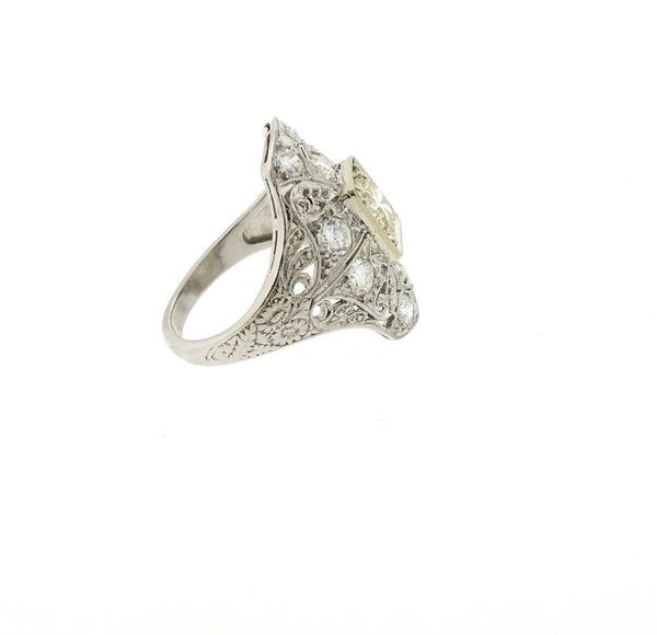 Art Deco Filigree Platinum Diamond Ring - 4