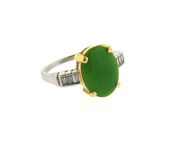 Platinum 18k Gold Jade Diamond Ring - 2