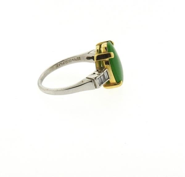 Platinum 18k Gold Jade Diamond Ring - 3