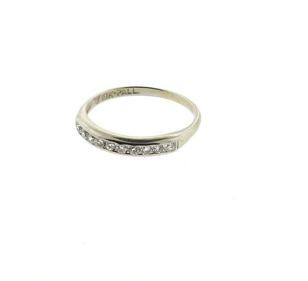 18k Gold Palladium Diamond Half Band Ring - 2