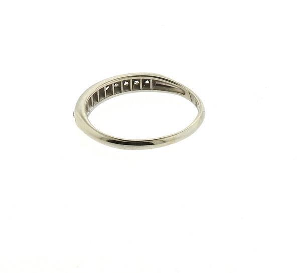 18k Gold Palladium Diamond Half Band Ring - 3