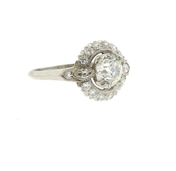 Antique Art Deco Platinum Diamond Engagement Ring - 3