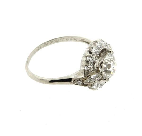 Antique Art Deco Platinum Diamond Engagement Ring - 4