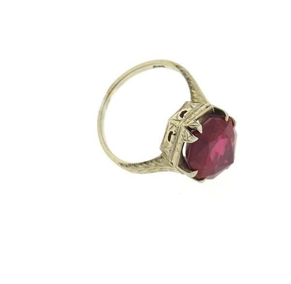 Art Deco 20k Gold Red Stone Ring - 2