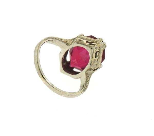 Art Deco 20k Gold Red Stone Ring - 3