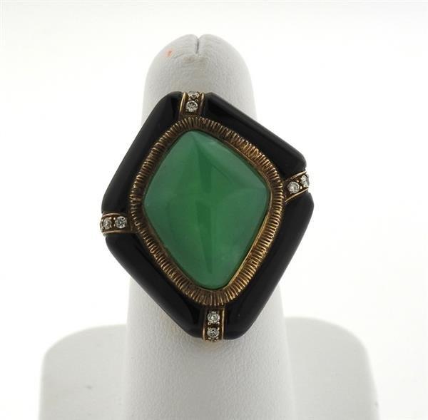 14k Gold Jade Diamond Onyx Ring - 2