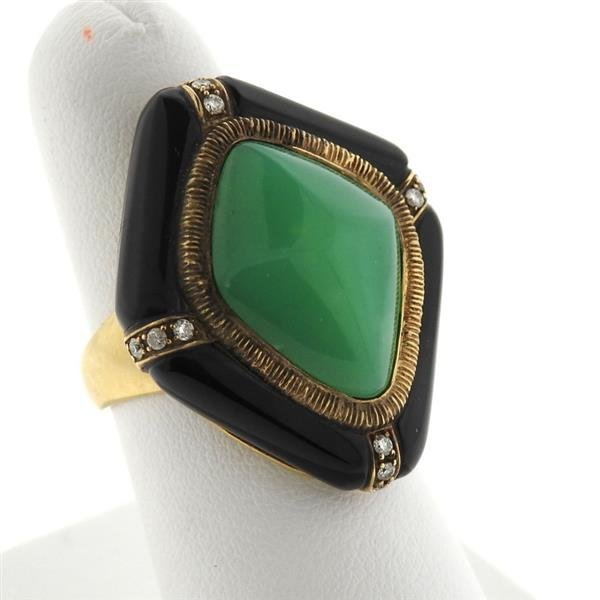 14k Gold Jade Diamond Onyx Ring - 3