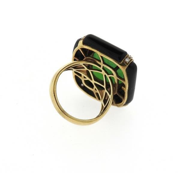 14k Gold Jade Diamond Onyx Ring - 4