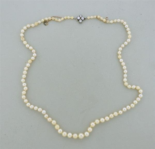 Art Deco Platinum Diamond Graduated Pearl Necklace