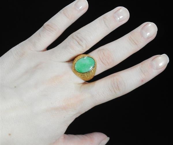 18k Gold Jade Ring - 4