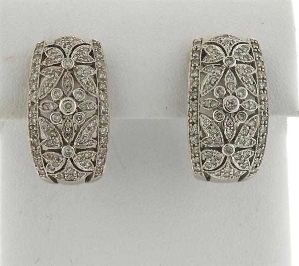 14k Gold Diamond Half Hoop Earrings