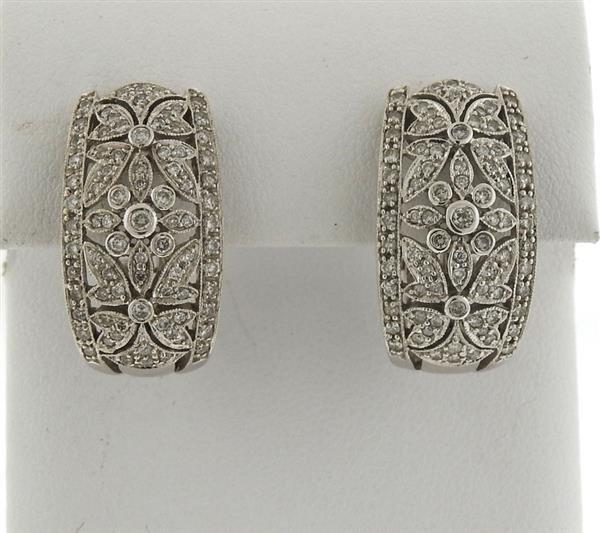 14k Gold Diamond Half Hoop Earrings - 2