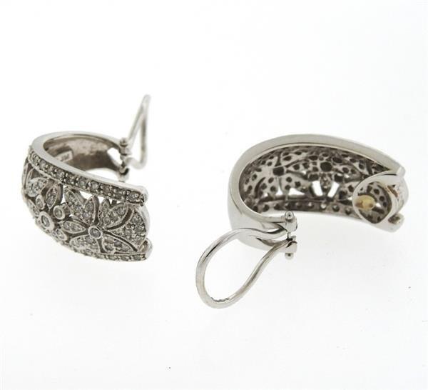 14k Gold Diamond Half Hoop Earrings - 4