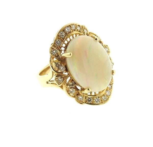 14k Gold Opal Diamond Ring - 2
