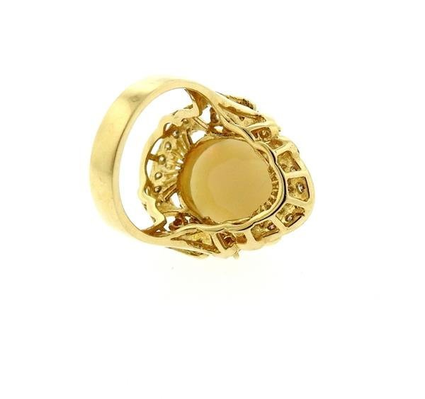 14k Gold Opal Diamond Ring - 4