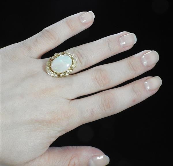 14k Gold Opal Diamond Ring - 5