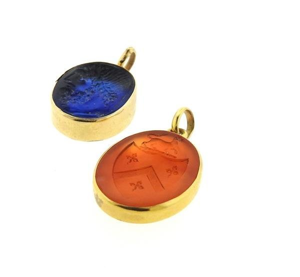 14k Gold Intaglio Glass Carnelian Pendant Lot - 3