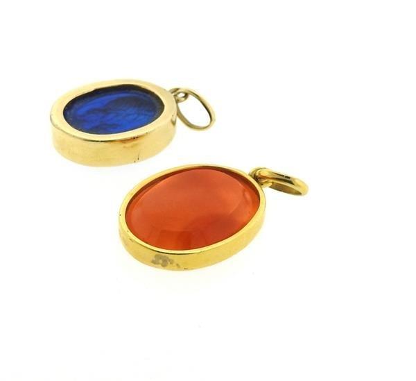 14k Gold Intaglio Glass Carnelian Pendant Lot - 4