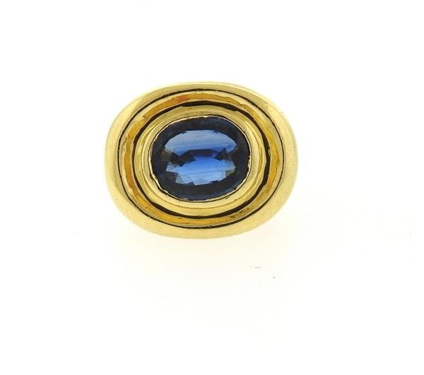 AGL Natural Sapphire 18k Gold Ring - 2