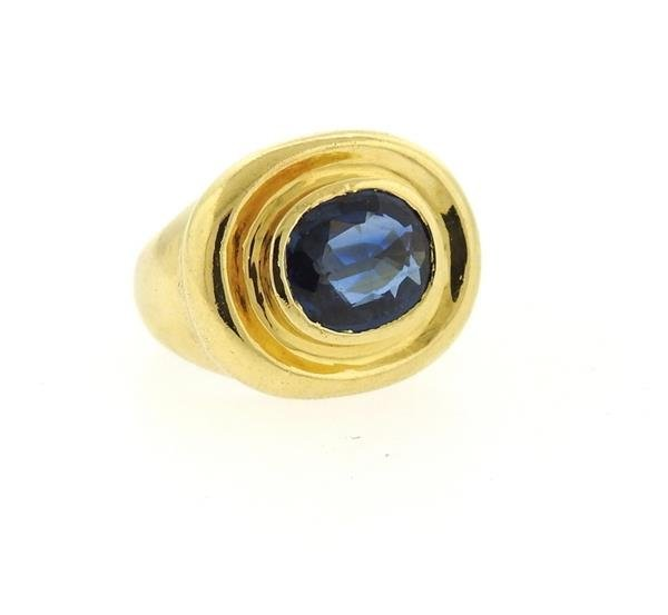 AGL Natural Sapphire 18k Gold Ring - 3