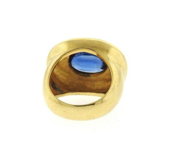 AGL Natural Sapphire 18k Gold Ring - 4