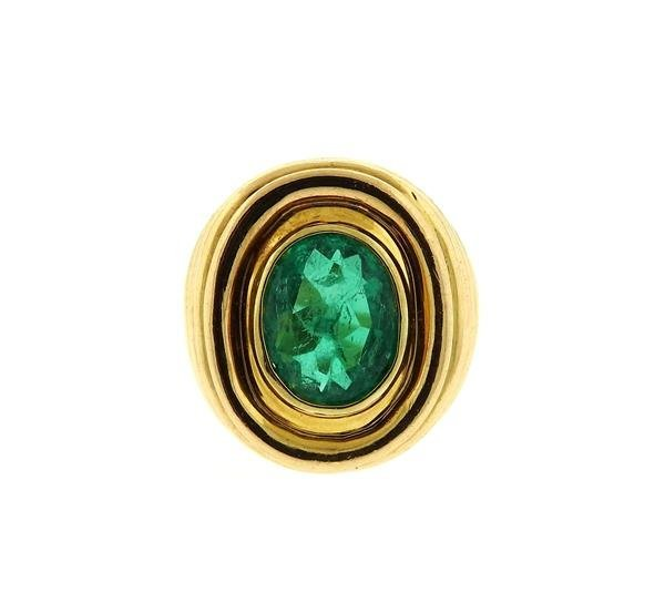 AGL Emerald 18k Gold Dome Ring