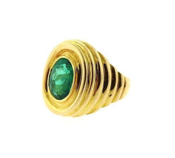 AGL Emerald 18k Gold Dome Ring - 2